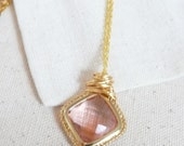 Gold Wire-Wrapped Pink Stone Necklace