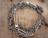 Chunky Upcycled Vintage Multi-Chain Silver Bracelet with T-Bar Clasp