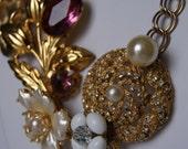 Vintage Gold Brooch Necklace