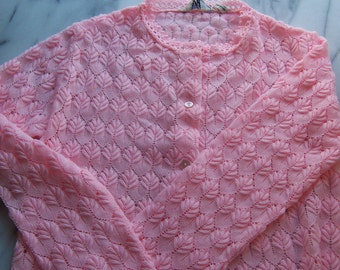 Vintage Cardigan by Miss Holly in Springy Bubblegum Pink vintage 70s
