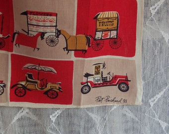 50s Linen Towel designed by Pat Prichard  - Horse Drawn Cart/ Early Auto c1955