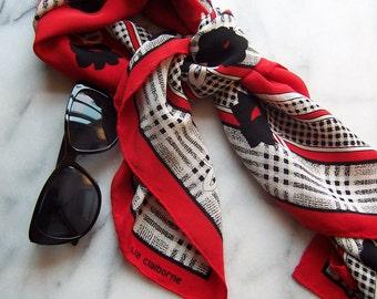 80s Liz Claiborne Red, Black & White  Floral/Plaid Crepe Scarf