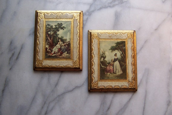 Neoclassic Gilt Edged Wall Plaques Made in Italy Ladies of Liesure