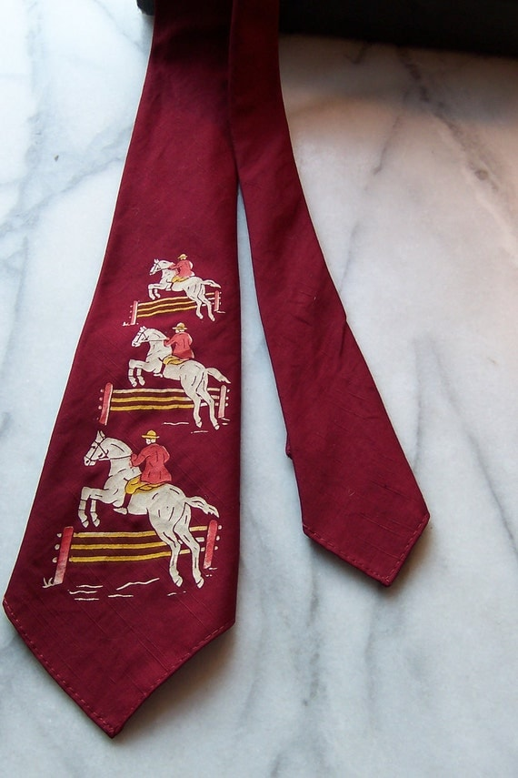 RESERVE Vintage 30s or 40s Hand Painted Necktie Depicting Man on Horse  Jumping Fence