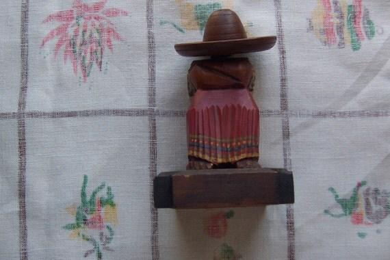 "40s Hand Carved Wood Match Holder ""Siesta"""