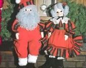 Santa, Mrs.Santa and Elf Cloth Doll Patterns