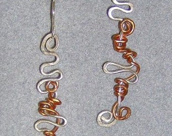 Wise One  - Hammered Silver and Copper Pathway Earrings