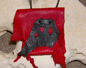 Lady Bug- This Wisdom Pouch features Red and Black Leather and is on an adjustable cord