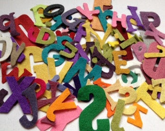 Wool Felt Die Cut Alphabet Letters 78 - Random Size and Colored. 2608 Stock image* - felt letters - felt words - die cut letters