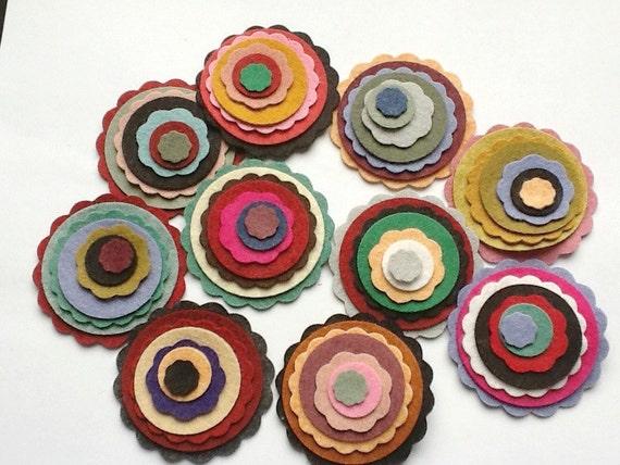 "Wool Felt Scallops/Circle Combo 70 total - Sizes 1/2"" - 2 1/4""  Random Colored. 972"