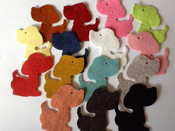 Wool Felt Dogs 15 Count - Random Colored 2012
