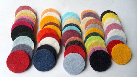 Wool Felt Circles 50 - 1 inch Random Colored. 1044