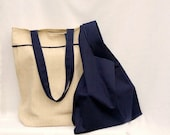 Tote bag - organic linen canvas with tiny navy cotton. Gift  - navy market bag.