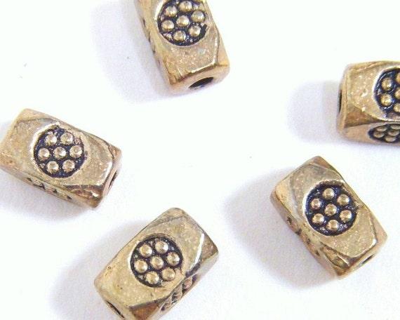 Tube Bead, Brass Rectangle Flower  6x4mm - 6 each D141