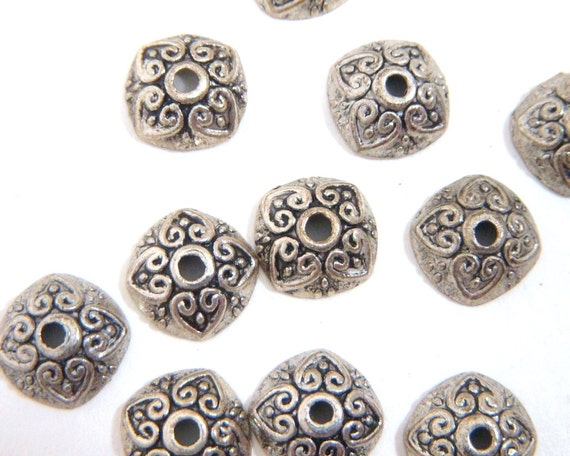 Bead Caps, Antiqued Silver Heart 10mm - 12 each D152
