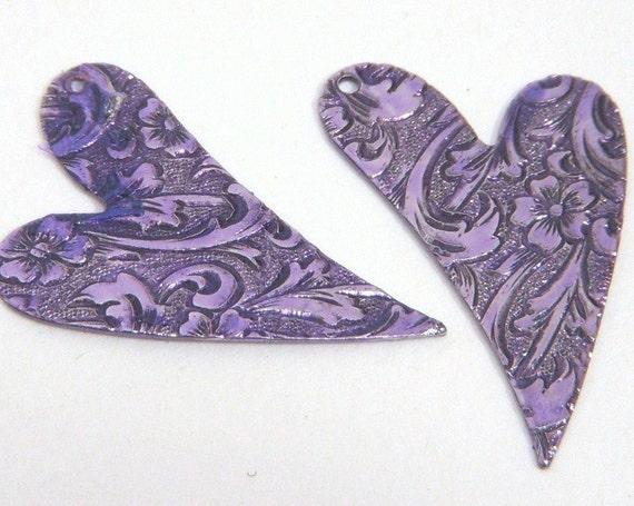 Heart, Purple Drops, Mirror Image 28x18mm - 2 each D163