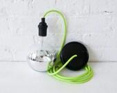 Neon Green/Yellow Pendant Light Cord w/ Giant Silver Globe Bulb