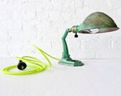 Vintage Bvyrant Industrial Lamp w/ Neon Yellow Net light Cord