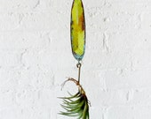 20% SALE - Neon Yellow Salmon Lure Spinner Hook Air Plant Garden - Spring Decor Gift