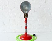 Vintage Fire Engine Red Industrial Lamp w/ Neon Yellow Green Color Cord