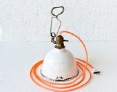 Antique Industrial Light- White Porcelian Clip Lamp w/ Neon Ornage Color Cord