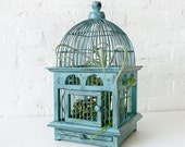 Air Plant in Blue Bird Cage - Distressed Teak LIVE Garden - EarthSeaWarrior