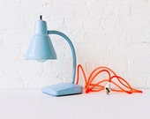 Industrial Light - Vintage Gooseneck Desk Lamp in Baby Blue with Neon Orange Net Cord