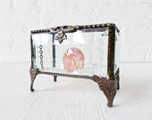 RESERVED for MICHELLE- Beveled Glass Jewelry Box with a Pink REAL Cubic Zirconia Carved Skull