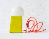 15% SALE - Vintage Yellow Cube Bowl Mod Lamp w/ Neon Pink Color Cord