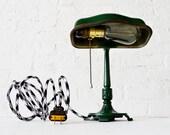 30% SALE - Vintage Cast Iron Green Industrial Table Desk Lamp w/ Black & White Zig Zag Color Cord