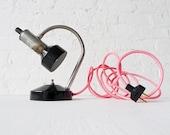 30% SALE - Industrial Lamp - Retro Atomic Chrome Black Desk Light w/ Neon Pink Net Cord OOAK