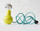 Retro Atomic Mid-Century Wobble Ball Light with Aqua Green Blue Color Cord OOAK