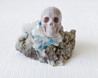 RESERVED for Izumi - India Crystal Pentagonite on Stilbite w/ Agate Skull OOAK