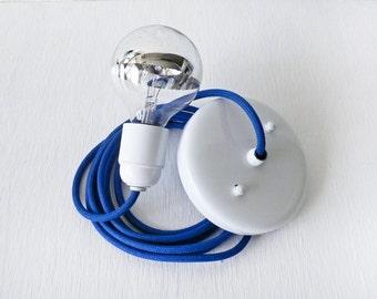 Royal Blue Pendant Light Cord w/ Large Silver Globe Bulb