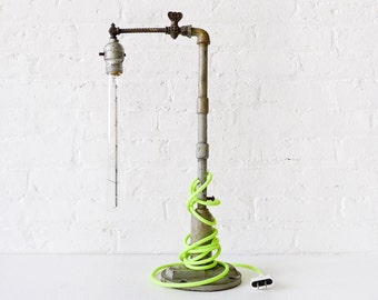Pope Pipe Industrial Lamp with Tungsten Tubular Bulb and Neon Green Yellow Cord OOAK