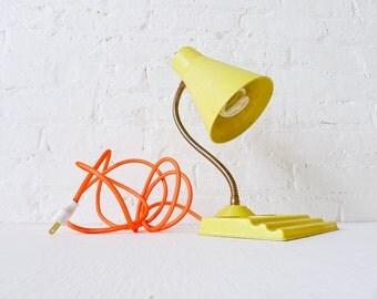 15% SALE - Retro Yellow Vintage Desk Table Lamp - Citrus Light - Neon Orange Net Color Cord OOAK
