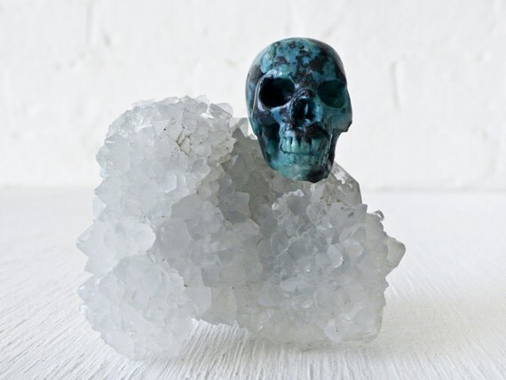 India Crystal Cluster w/ American Chrysocolla Carved Skull OOAK