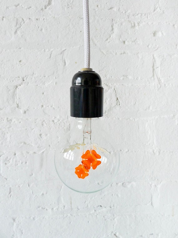 Pendant Hanging Light w/ Neon Flower Light Bulb
