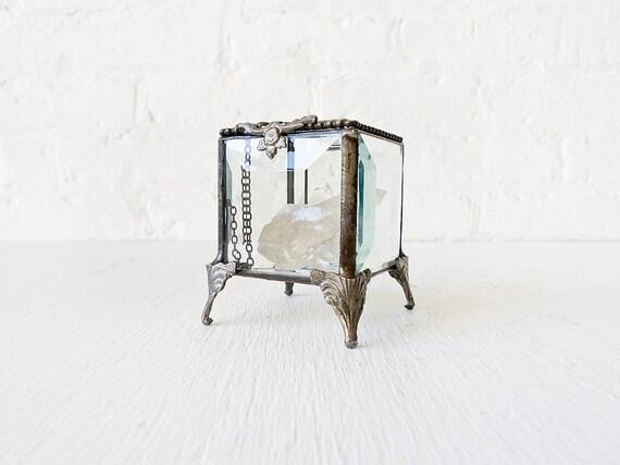 Beveled Glass Jewelry Box with Quartz Crystal Jem