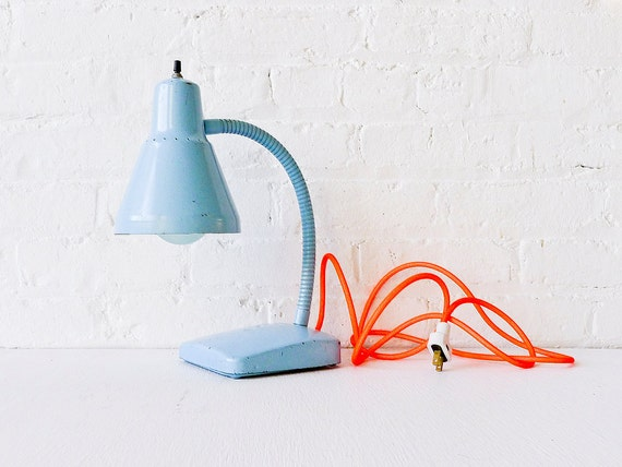 Industrial Light - Vintage Gooseneck Desk Lamp in Baby Blue with Neon Orange Net Cord