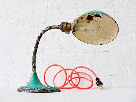 Vintage Gooseneck Desk Lamp w/ Neon Pink Orange Color Cord