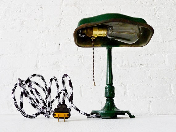 30% SALE - Vintage Cast Iron Green Industrial Table Desk Lamp w/ Black & White Zig Zag Color Cord