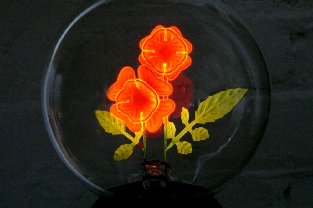 Neon Glow Flower Light Bulb And Base By Earthseawarrior On
