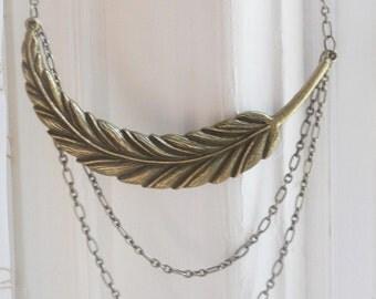 SALE: Antique Bronze Feather Necklace