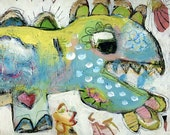 Magic Dinosaur...Mixed Media Abstract Artwork...Wood Mounted Print