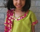 Henna Fashions - Pink and Green Lengha Dress Skirt  7 Year Old