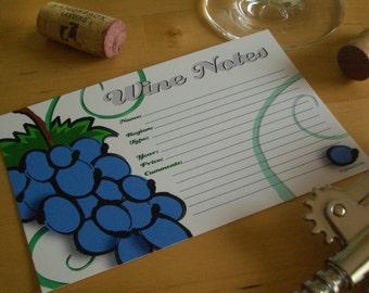 Wine Tasting Note Cards - Set of 12
