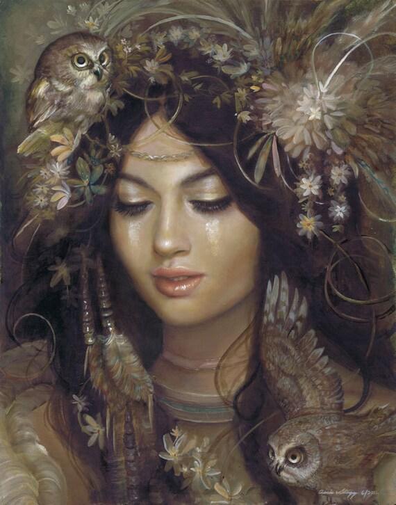 "8x10 print ""The Owl Maiden"""