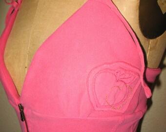 Lovely Pink Apple Hoodie Halter Tank Top