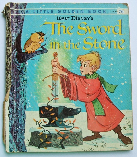 Disney Mickey Mouse Club Book The SWORD in the STONE Little Golden Book 1963 First Edition